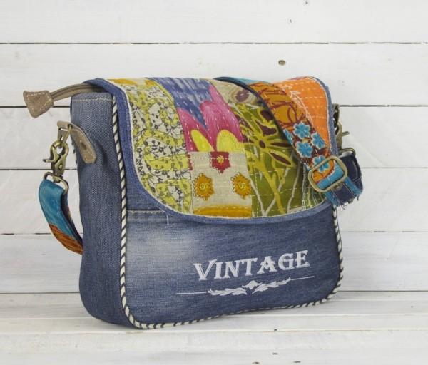 Umhängetasche Damen Jeans Schultertasche Tasche Hippie bunt Vintage Blau Sunsa